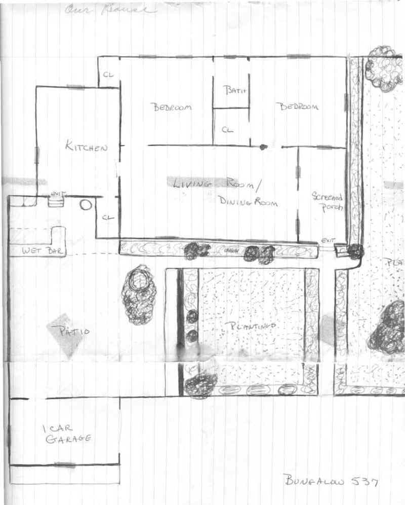 IS THE PLAN FOR A TWO BEDROOM HOUSE IN THE OLDER HOUSES. THIS PLAN