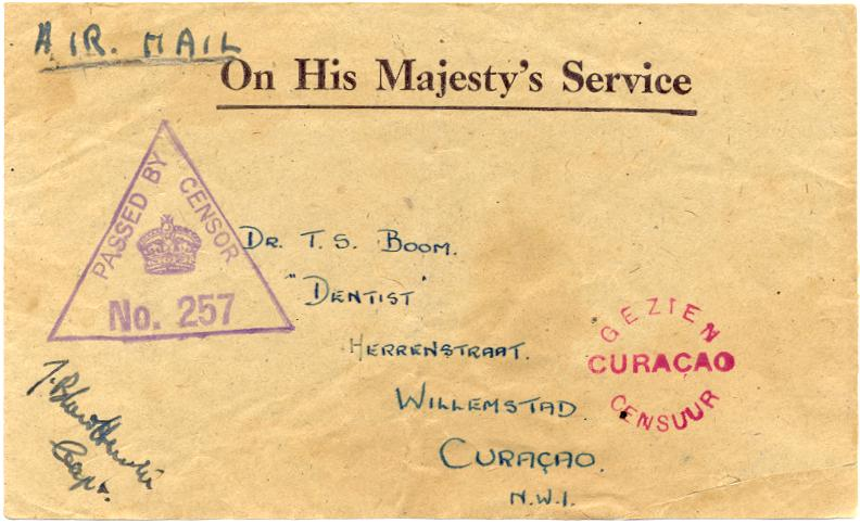 Censored Mail From Aruba In Ww Ii
